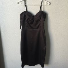 Gorgeous black dress Worn once still like brand new. Satin like material. So pretty on. I wore for a birthday dinner a year ago Forever 21 Dresses Midi