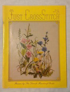 Vintage Danish Flowers Just CrossStitch Cross Stitch March-April 1986