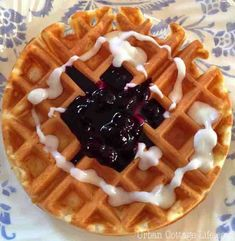 Farewell to My Mother ♥ Belgian Waffles | Urban Cottage Life Urban Cottage, Blueberry Sauce, Belgian Waffles, To My Mother, Crisp, Baking, Fruit, Breakfast, Recipes