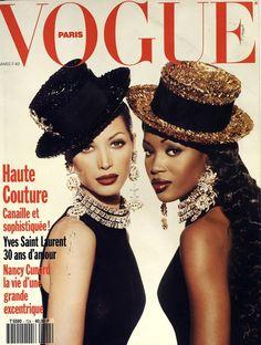 Christy Turlington et Naomi Campbell couverture Vogue Paris 1992