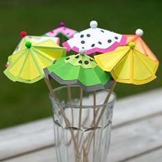 a bunch of fruity themed cocktail umbrellas, a theme surrounding this could lead to some interesting colours and designs.