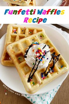 Homemade Funfetti Waffles filled with colorful sprinkles are perfect for birthdays and other celebrations. This easy breakfast recipe makes any day special! Waffle Recipes, Baby Food Recipes, Cooking Recipes, Breakfast Bars, Breakfast Ideas, Easy Family Meals, Easy Meals, Delicious Breakfast Recipes, Yummy Food
