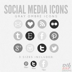 Gray Ombre Social Media Icons for Blog & Web, INSTANT DOWNLOAD