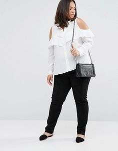 Image 4 of ASOS CURVE Cold Shoulder Blouse with Ruffle
