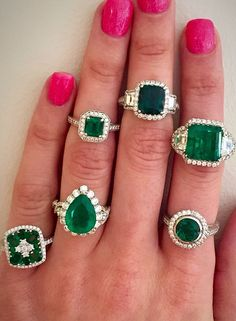 Happy St. Patrick's Day! Gorgeous array of Colombian Emerald and diamond rings!