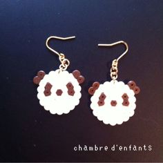 Perler Earrings, Beaded Earrings, Beaded Jewelry, Crochet Earrings, Hama Beads, Fuse Beads, Beaded Animals, Pony Beads, Panda