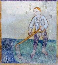 The Labours of the Months, Santa Maria, Mesocco, Tessin, CH-June - Making the hay with a scythe.  His hosen are being held up by a belt.