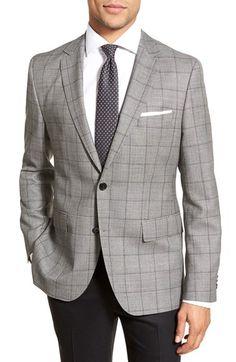 BOSS 'Jeen' Trim Fit Windowpane Wool Sport Coat