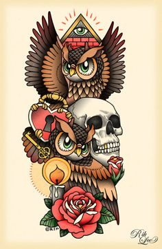 Illustration by Rik Lee-- would be really cool to do, I'd probably switch the skull to a sugar skull, and throw in a few more colors ☺️