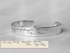 20% OFF* - Actual Handwriting Cuff Bracelet For Her - Personalized Signature Bracelet - Wedding Jewelry - Bridesmaid Gift - PB07