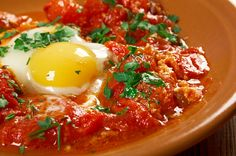 Hearty Poached Egg and Peppers Recipe: Shakshuka Egg Recipes For Breakfast, Breakfast Time, Pinoy Breakfast, Eggs In Purgatory, Turkish Recipes, Ethnic Recipes, Shakshuka Recipes, Eggs In Peppers, Red Peppers