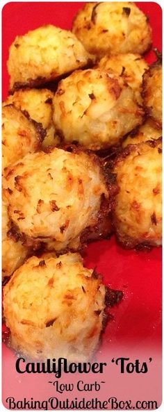This low carb recipe for Cauliflower Tots will make it easy for you to get a 'french fry fix' while dumping the carbs. - Baking Outside the Box bakingoutsidethebox recipe Healthy Recipes, Diabetic Recipes, Vegetable Recipes, Diet Recipes, Healthy Snacks, Vegetarian Recipes, Cooking Recipes, Recipies, Pescatarian Recipes