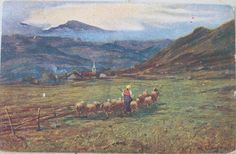 1918 Paesaggio di Montagna opera pittore G. Bascaglione C.C.M. 230-3 proprietà artistica vietata ufficio revisione stampa 4.5.1917  N. 710 cartolina con francobollo Italia da 10 cent.