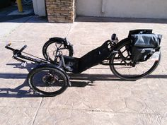 This is a Catrike Expedition. A all around great trike for exploring.  This trike has a larger back wheel and this trike has been tricked out with extra saddle bags!