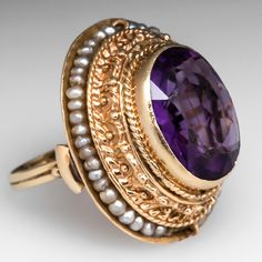 Handmade Antique Bezel Set Amethyst Cocktail Ring w/ Seed Pearls 14K Gold