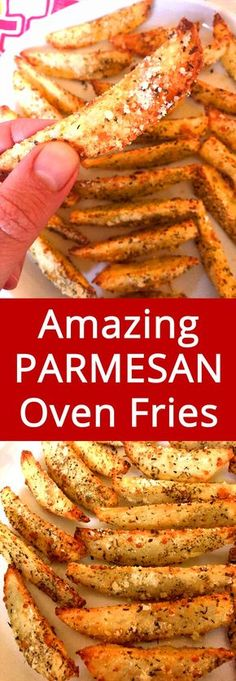 Oven Baked Garlic Parmesan Potato French Fries Recipe OMG these BAKED garlic Parmesan fries are amazing! I'm drooling! This is my favorite potato recipe, these oven fries always turn out perfect! Healthy Fries, Healthy Recipes, Vegetarian Recipes, Healthy Meals, Delicious Recipes, Easy Recipes, Recipe Tasty, Oven Recipes, Kitchen Recipes