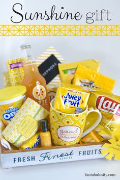 """Sunshine Gift Basket or Box Ideas! Love this for a """"thank you,"""" gift, """"birthday,"""" or geez... ANYTHING! She gives a free printable gift tag too! http://fantabulosity.com"""