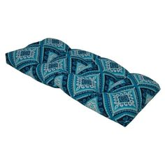 Spanish Tile Azure Indigo Outdoor Settee Cushion (Blue - Rectangle - Polyester), Outdoor Cushion