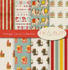 Vintage Circus Digital Paper,  Circus Backgrounds, Digital Scrapbook Paper, Vintage Circus Clip Art, Graphics, Invites, Carnival Printables
