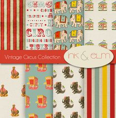 Vintage Circus Digital Paper,  Circus Backgrounds, Digital Scrapbook Paper, Vintage Circus Clip Art, Graphics, Invites, Carnival Printables