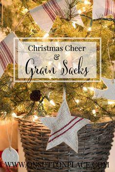Christmas Cheer and Grain Sacks | Christmas Decor using vintage grain sacks | onsuttonplace.com