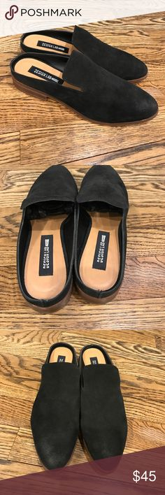 Suede backless slip ons size 9 NEW Brand new suede backless slip ons. These were samples so they have a punched hole (see pic). Perfect condition no box design lab Shoes Flats & Loafers