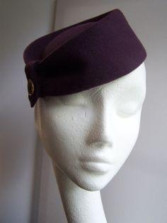 48148831697 40s Style Pillbox Hat in Aubergine Wool felt