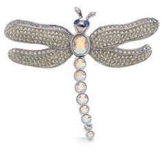 Carolee Silver Plated Limited Edition Silver-Tone Crystal Dragonfly... (10.225 RUB) ❤ liked on Polyvore featuring jewelry, brooches, silver plated, silver plating jewelry, carolee jewelry, crystal jewellery, carolee and crystal brooch