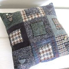 Lily Button Tweed Cushion: Squares - cushions £40