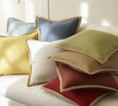Natural fiber and a pop of color give these pillows artful character. You can't have too many of these.