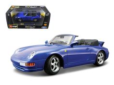 Porsche 911 Carrera Cabriolet Blue 1/24 Diecast Model Car by Bburago - Brand new 1:24 scale diecastPorsche 911 Carrera Cabriolet Blue die cast model car by Bburago. Brand new box. Rubber tires. Made of diecast with some plastic parts. Has opening doors and engine compartment. Detailed interior, exterior, engine compartment. Dimensions approximately L-7.5, W-3, H-2.5 inches. Please note that manufacturer may change packing box at anytime. Product will stay exactly the same.-Weight: 2. Height…