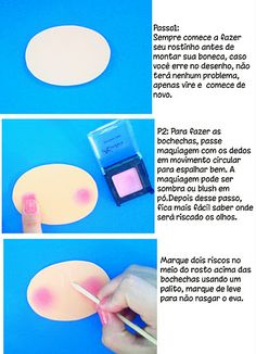 "photo tutorial of ""blushing"" cheeks Wax Paper Transfers, Activities For Kids, Crafts For Kids, Quiet Book Patterns, Clay Dolls, Doll Repaint, Foam Crafts, Photo Tutorial, Doll Face"