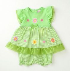 Newborn Floral Trim Seersucker Dress