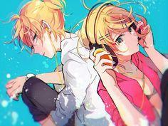Anime, Аниме, Art, Kagamine Rin, Kagamine Len, Vocaloid