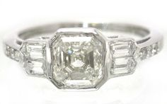 Asscher cut diamond engagement ring bezel set 1.40ctw by KNRINC, $4485.00