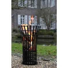 FINK-LIVING FIRE Feuerkorb, schwarzpulverbesch. / H.79cmD.53 cm