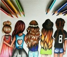 Cute drawings for bffs jes. jjjdifn idnic iw did skmdi jdndidj jd mdjdi jd jd Best Friend Drawings, Bff Drawings, Easy Drawings, Drawing Sketches, Pencil Drawings, Drawing Style, Drawings Of Hair, Drawings Of Dresses, Cute Drawings Of Girls
