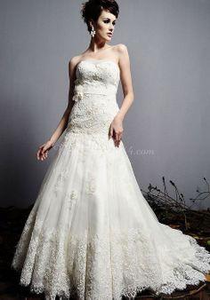Ribbon Sweetheart Lace Sleeveless Applique Trumpet Wedding Dress