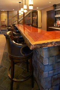 Love the raw wood edge Garage Cave Basement bar designs, Wood bar top, Bars for home Hello! Here we have nice photo about wood bar top ide. Wooden Bar Top, Basement Bar Designs, Basement Ideas, Modern Basement, Basement Gym, Rustic Basement Bar, Industrial Basement, Basement Fireplace, Basement Bathroom