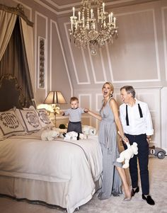 what a wonderful bedroom. molding and glimmery lighting. Tommy Hilfiger & Family