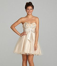 Masquerade Rossette Strapless Dress | Dillards.com I wanna wear something like this to CB this year :P