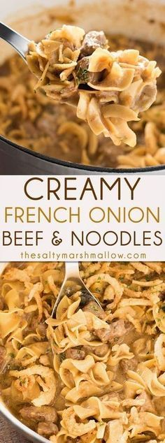Creamy French Onion Beef and Noodles is easy to make, ready in 25 minutes or less right on your stove top! The ultimate quick comfort food for an amazing weeknight dinner. comfort food Creamy French Onion Beef and Noodles Beef Dishes, Pasta Dishes, Food Dishes, Main Dishes, Egg Noodle Dishes, Food Platters, Beef Bourguignon, Beef Recipes For Dinner, French Recipes Dinner