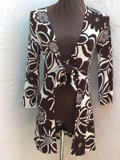 CAbi size S brown retro floral tie front long duster open cardigan style 902 #CAbi #Duster #Casual