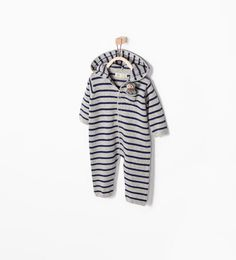 ZARA - MINI - STRIPED HOODED ONESIE
