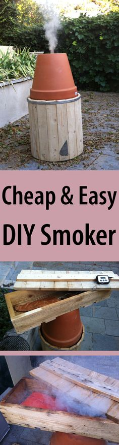 Made out of 2 terra cotta pots, a stainless steel bucket, and some wood. Get ready for a summer of smoked fish and meat!