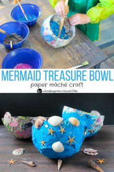 It's back to basics with these Mermaid Treasure Bowls! It's a simple paper mâché craft that provide lots of fun! #kidscraft #papermache #mermaids #mermaidtreasure #papermachecraft #papermachebowl