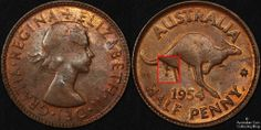 Australia 1954 half penny with reverse denticle pattern under kangaroo Old Coins, Rare Coins, Australian Money, Seal Of Solomon, Coin Collecting, Kangaroo, Stamps, Owl, Notes