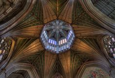 This spectacular octagonal lantern over the crossing of the Ely Cathedral, was built after the collapse of the old tower, and finished by 1340. Image by Andrew Sharpe