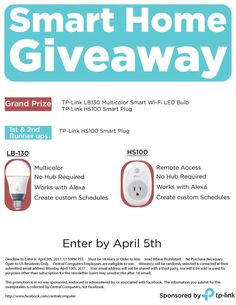 Do you like free smart home products?  We sure do, which is why we are holding a Smart Home Products Giveaway!  One lucky winner will get a TP-Link LB130 Multicolor Smart Wi-Fi LED Bulb and one TP-Link HS105 Smart Plug.  The bulb features 16 million different colors, can be access remotely and works with the Amazon Echo.  Two runner ups will get a TP-link HS100 Smart Plug.