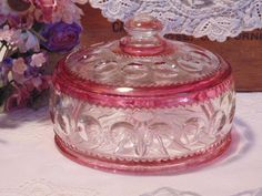 Kings Crown Covered Candy Dish Bowl Ruby Flash Indiana Glass Thumbprint